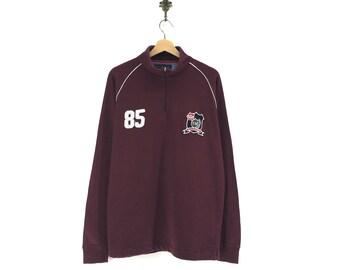 Tommy Hilfiger Half Zipper Long Sleeve Big Logo SpellOut Embroidery  Multicolour Pullover Sportswear Streetwear Activewear c3377dbd4a5