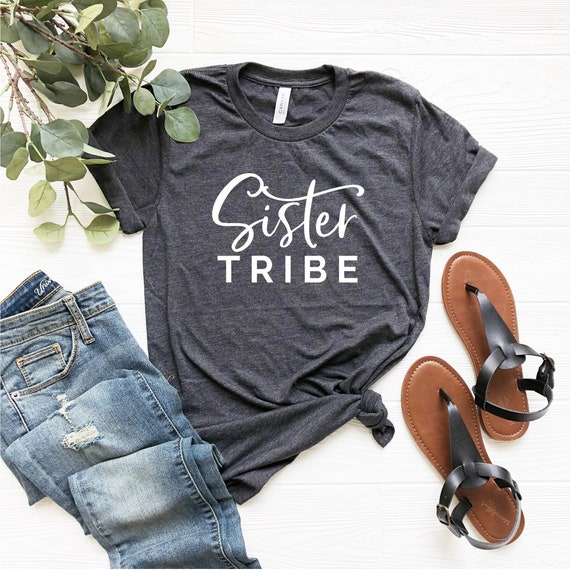 100% authenticated get new nice cheap Sister Tribe Shirt, Sister Squad Tshirt, Funny Sister shirts for adults,  Sisterhood t shirt women Sister in law Birthday gift, Sisters Gifts