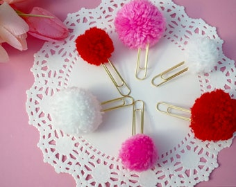 Valentine's Day pom paperclips