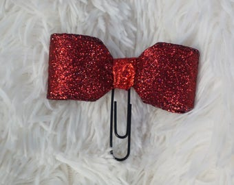 Ruby glitter bow paperclip planner clip