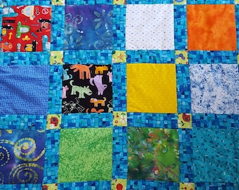 Made to order Baby Quilt 16 squares colorful