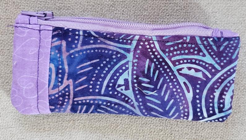 small hand made zipper pouch batik purple