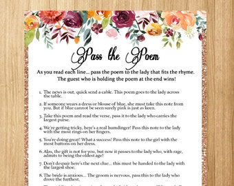 bridal shower games pass the poem game printable wedding shower game pass along the poem floral shower games pass the prize hen night