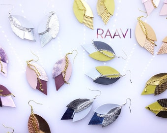 """Leather Leaf Earrings, Feather Earrings, Leather Earrings, Lightweight Leather, Gift For Her, Hook Earrings, Raavi """"Comet"""" Leather Earrings"""