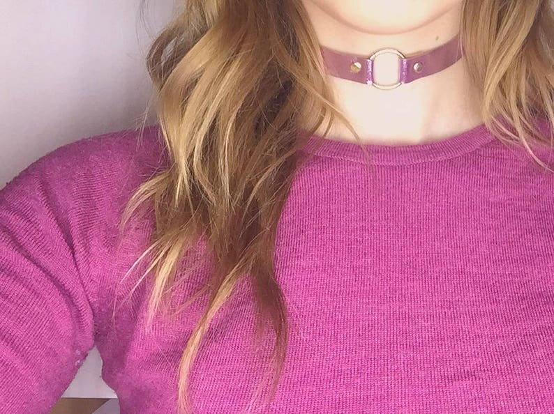 Leather Necklace Leather O-ring choker Charm choker