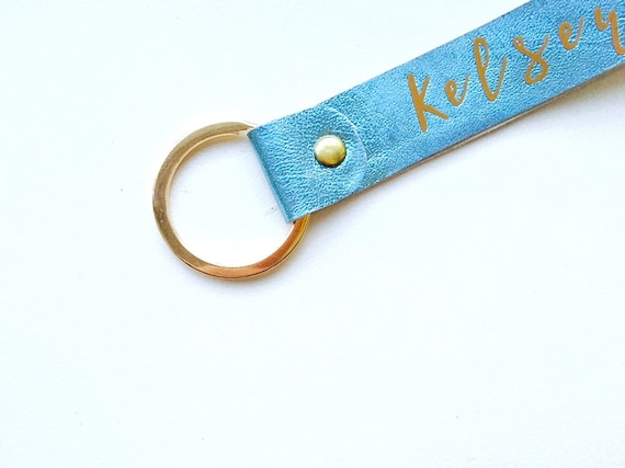 Handmade in Oregon 6 colors Monogram Personalized Leather Keychain Leather Key Fob