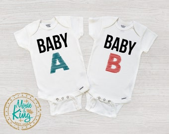 Twin Onesies Travel baby bodysuit Identical or fraternal