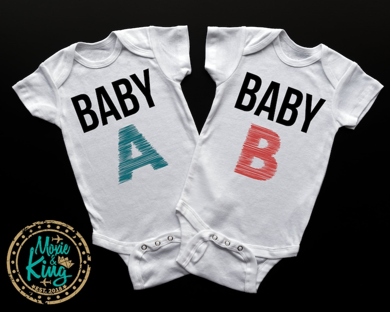Baby A Baby B Twin bodysuit fraternal Twin Pregnancy Announcement Take Home Outfit Baby Shower Gift Baby Boy Baby Girl Twin Onesies