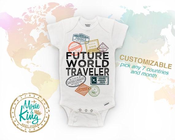 Pregnancy Announcement Future World Traveler baby Onesie\u00ae bodysuit Baby Shower Gift Traveller Baby Unisex One-pc Cute Baby Clothes Newborn