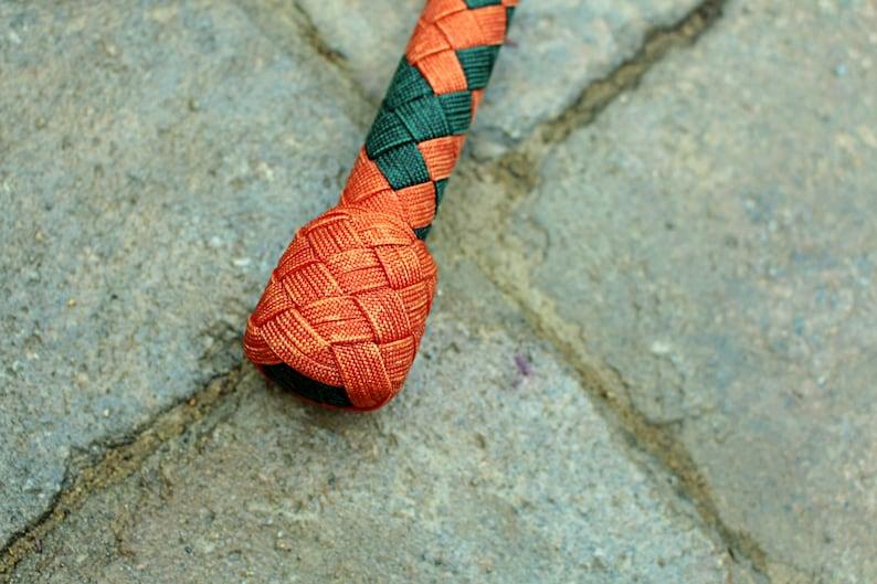 6/' Bullwhip 06 Feet 16 Plait Nylon Paracord Orange and Emerald Green
