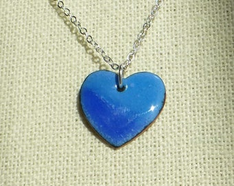 Enameled Heart Pendant in blue