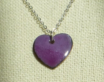 Enameled Heart Pendant Purple/Lavender