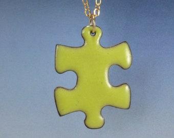 Reversible! Enameled Puzzle Piece Pendant