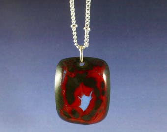 Black Red and Blue Enamel Pendant Necklace
