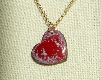 Enameled Heart Pendant in Raspberry Speckle