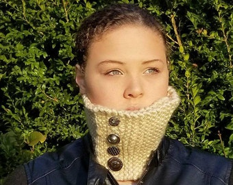 Knitted Button Neck Warmer