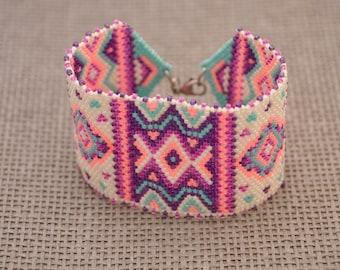 Peyote Beaded Cuff Bracelet For Woman, Miyuki Delica Beads Wide Bracelet, Colourful White Turquoise Flamingo Pink Summer Bracelet