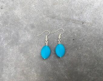 Blue Oval Earrings