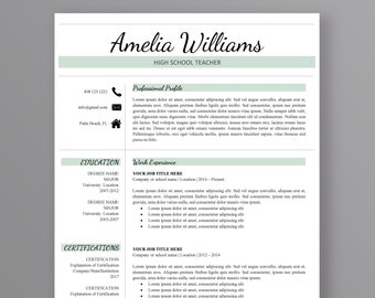 Teacher Resume Template | Modern Resume Template | Professional Resume Template | 3 Page Resume | CV Template | Instant Download Resume