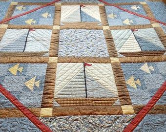 Sailboat Nautical Fish Pieced Patchwork Contemporary Handmade Blue Brown Red Cotton Twin Throw Quilt Blanket Coverlet Wall Hanging