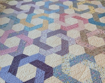Pieced Patchwork Contemporary Handmade Blue Pink Purple Green Gold Cotton Twin Full Throw Quilt Blanket Coverlet Wall Hanging