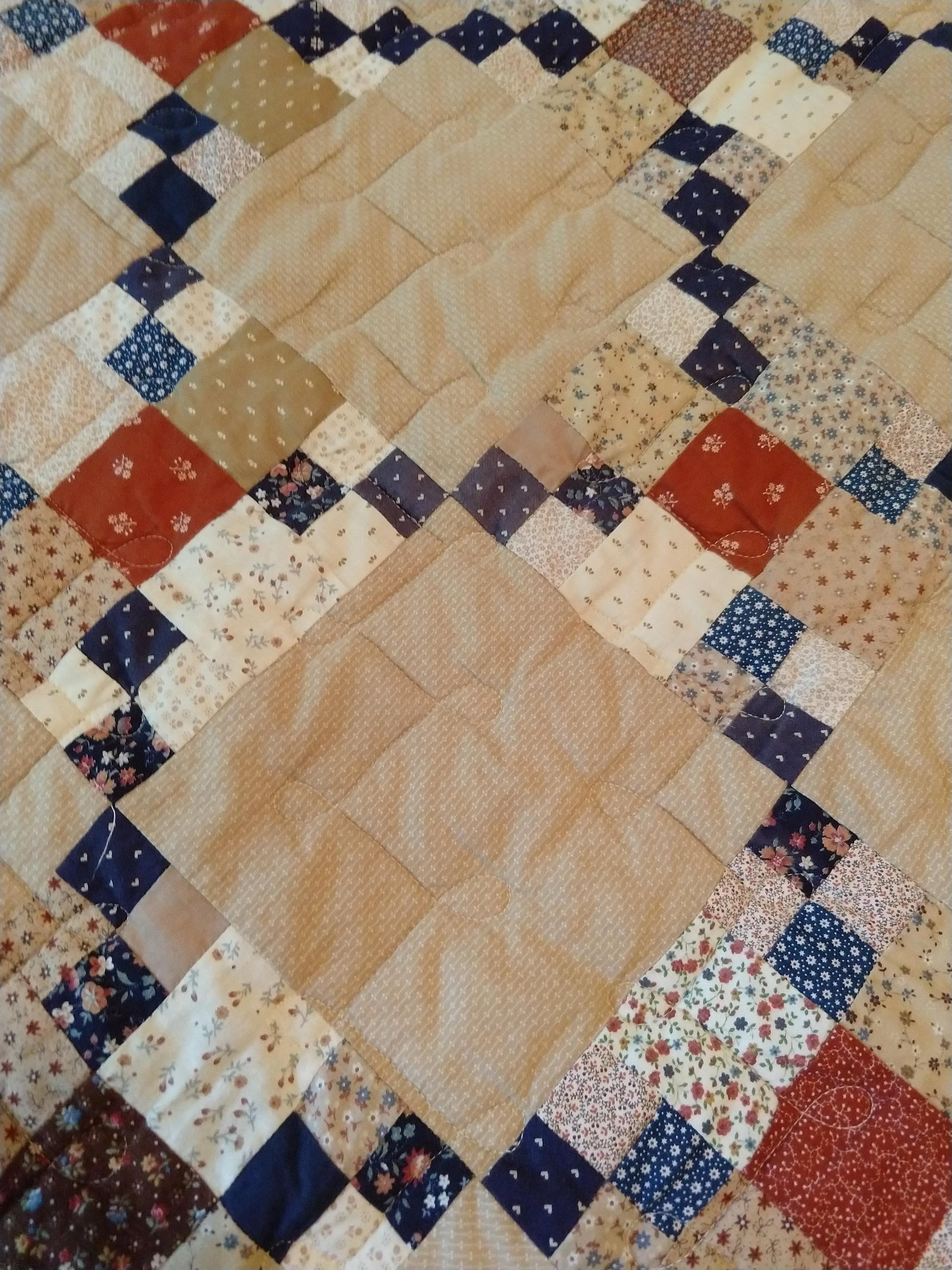 Navy and Tan Used vintage '90's Full Cotton Quilt Nine Patch Variation