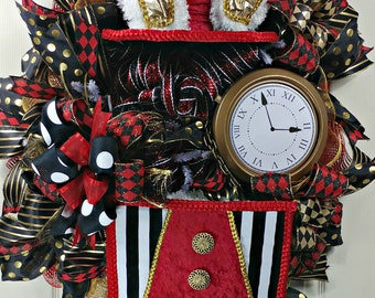 Fanciful Mad Hatter Wreath