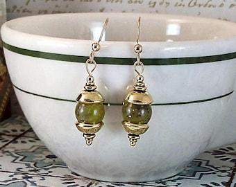 Handmade Olive Jade & Gold Earrings