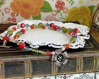 Handmade Colorful Flower Necklace