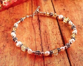 Handmade Jonquil Swarovski Crystal, Pearl, & Sterling Silver Bracelet
