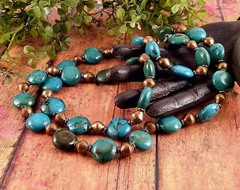 Handmade Turquoise & Brass Necklace
