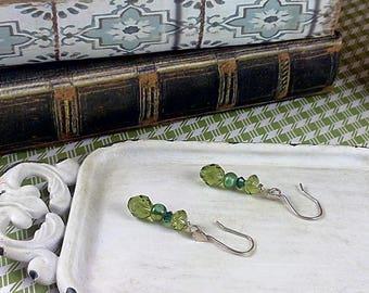 Handmade Green & Silver Earrings