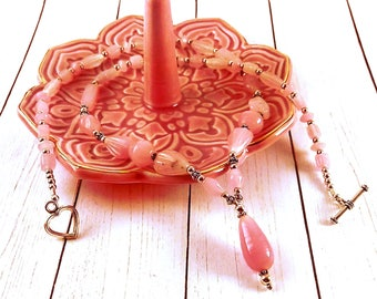 Handmade Pink Pressed Glass Necklace