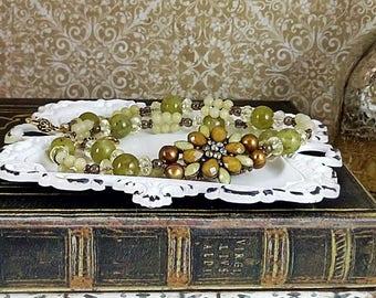 Handmade Olive Jade & Copper Flower Necklace