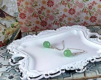Handmade Glass Peridot & Silver Earrings