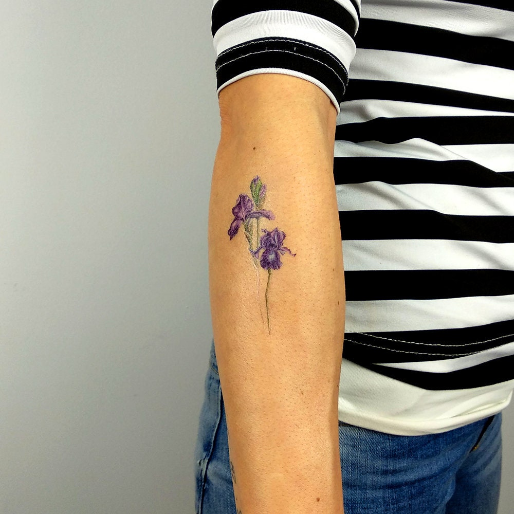 Iris Flower Temporary Tattoo By Mini Lau Set Of 3 Etsy