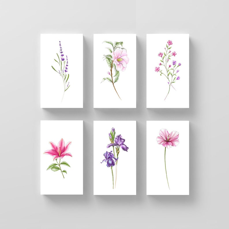 Floral Temporary Tattoo Set By Mini Lau Set Of 12 Etsy