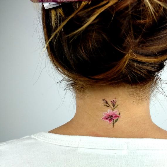 Lily Stargazer Temporary Tattoo By Lena Fedchenko Set Of 3 Etsy