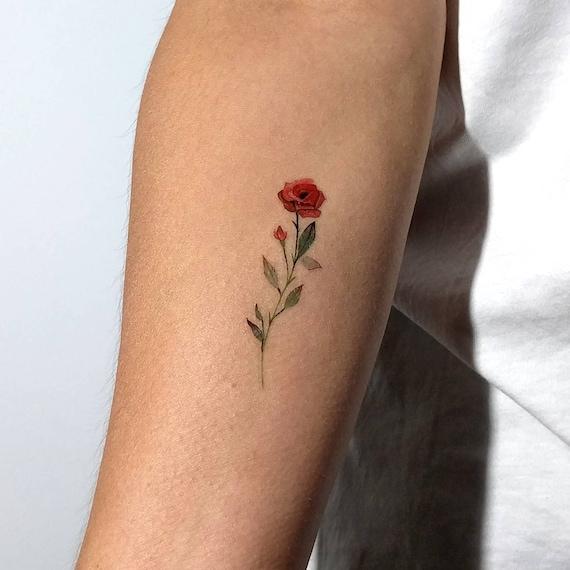 Tatouage Temporaire De Rose Rouge Par Lena Fedtchenko Lot De Etsy