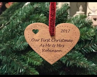 Beautiful unique Personalised Our First Christmas as Mr and Mrs Tree Decoration Bauble