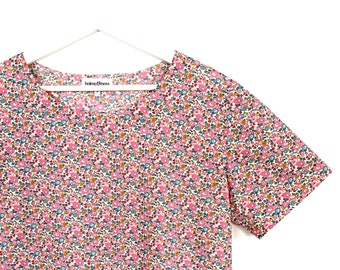 3661032189 Liberty of London Women's Relaxed Fit Short Sleeved Top, Betsy Ann E Pink  Print - Women's Clothing - Women's T-Shirts - Women's Tops
