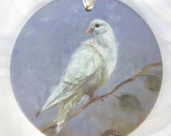 """White Dove Ornament; PEACE, elegant matte bisque Premium Porcelain, 3 3/4"""", Christmas Ornament"""