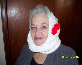New Adult  White Hooded Cowl With Red Rose Accent