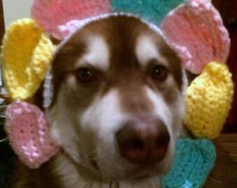Dog headband Crocheted flower dog headband