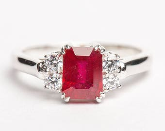 Ruby and Moissanite Silver Ring