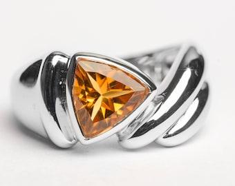 Citrine silver ring Vivid Brownish Orange