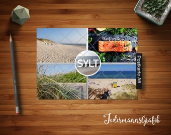 Modern postcard with envelope motif: Sylt No 4-Instant download-Fast holiday greetings-ALWAYS reusable!