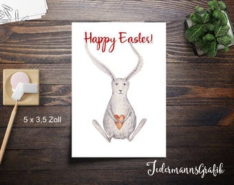 Postcard with envelope-Easter-Happy Easter-bunny with Heart-5 x 3.5 inches (12.3 cm x 8.89 cm)-Instant download
