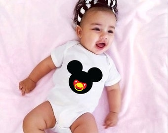 Mickey Mouse Pacifier Babygrow | Disney Themed Baby Bodysuit Onesie