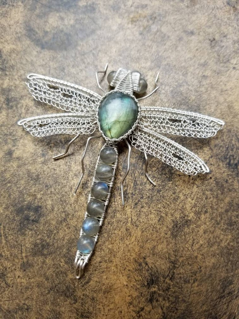 Non-Tarnish /& Hypoallergenic Wire Wrapped Artwear Handcrafted with .999 Fine Silver Labradorite Dragonfly Pendant